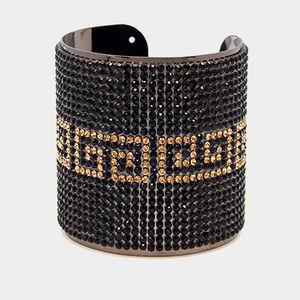 Greek Pattern Rhinestone Pave Cuff Bracelet